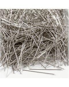 Stecknadeln, L: 37 mm, Stärke: 0,7 mm, Silber, 500 g/ 1 Pck.
