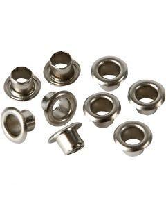 Ösen, H: 4,5 mm, D: 7,5 mm, Lochgröße 4 mm, Silber, 100 Stck./ 1 Pck.