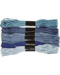 Stickgarn, Stärke: 1 mm, Blautöne, 6 Bündl./ 1 Pck.