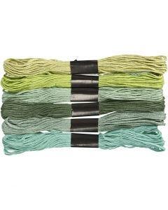 Stickgarn, Stärke: 1 mm, Grün mit Glitter, 6 Bündl./ 1 Pck.