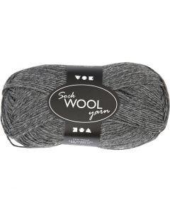 Sockenwolle, L: 200 m, Dunkelgrau, 50 g/ 1 Knäuel