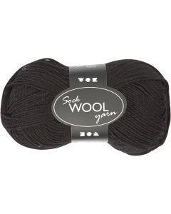 Sockenwolle, L: 200 m, Schwarz, 50 g/ 1 Knäuel