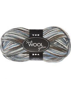 Sockenwolle, L: 200 m, Harmonie in Blau-Grau, 50 g/ 1 Knäuel