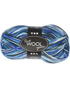 Sockenwolle, L: 200 m, Harmonie in Blau-Türkis, 50 g/ 1 Knäuel