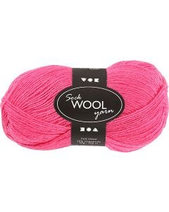 Sockenwolle, L: 200 m, Pink, 50 g/ 1 Knäuel