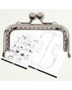 Bügelverschluss für Handtaschen, Größe 8 cm, Silber, 1 Stck.