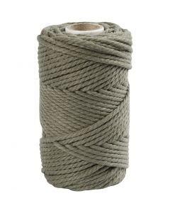 Macramé-Kordel, L: 55 m, D: 4 mm, Moosgrün, 330 g/ 1 Rolle