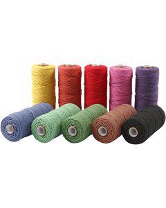 Baumwollkordel - Sortiment, L: 315 m, Stärke: 1 mm, Dünne Qualität 12/12, Kräftige Farben, 10x220 g/ 1 Pck.