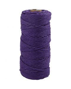 Baumwollkordel - Sortiment, L: 100 m, Stärke: 2 mm, Dicke Qualität 12/36, Violett, 225 g/ 1 Knäuel