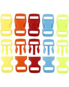 Klick-Verschluß, L: 29 mm, B: 15 mm, Lochgröße 3x11 mm, Sortierte Farben, 100 Stck./ 1 Pck.
