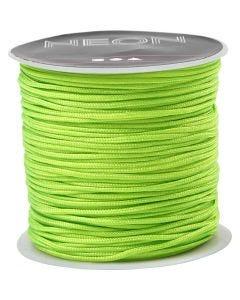 Macramé-Kordel, Stärke: 1 mm, Neongrün, 28 m/ 1 Rolle
