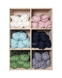 XL-Chunky-Garn aus Polyacryl/Wolle, L: 15 m, Größe mega , Sortierte Farben, 6x5 Knäuel/ 1 Pck.