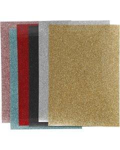 Bügelfolie, 148x210 mm, Glitter, Sortierte Farben, 6 Bl./ 1 Pck.