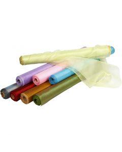 Organzastoff, B: 50 cm, Glänzend, Sortierte Farben, 10 m/ 1 Rolle