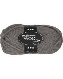 Melbourne Wolle, L: 92 m, Grau, 50 g/ 1 Knäuel