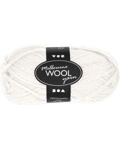 Melbourne Wolle, L: 92 m, Naturweiß, 50 g/ 1 Knäuel