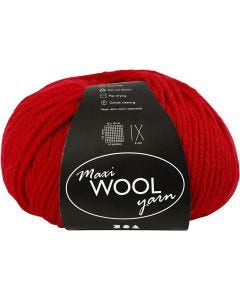 Wolle, L: 125 m, Rot, 100 g/ 1 Knäuel