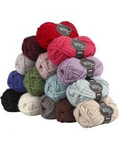 Sydney Wolle, L: 50 m, Inhalt kann variieren , Sortierte Farben, 15x50 g/ 1 Pck.
