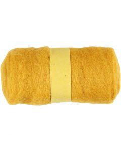 Wolle, kardiert, Gelb, 100 g/ 1 Bündl.