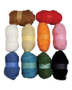 Kardierte Wolle - Sortiment, Sortierte Farben, 10x25 g/ 1 Pck.