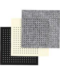 Bastelfilz mit Löchern, Stärke: 3 mm, Schwarz, Grau, Naturweiß, 3x4 Bl./ 1 Pck.