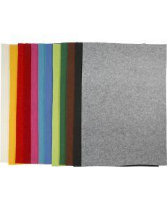 Bastelfilz, 42x60 cm, Stärke: 3 mm, Sortierte Farben, 12 Bl. sort./ 1 Pck.