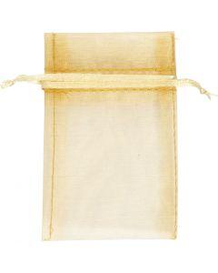 Organza-Beutel, Größe 7x10 cm, Gold, 10 Stck./ 1 Pck.