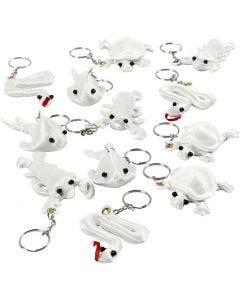 Schlüsselanhänger aus Stoff, Größe 4-8 cm, Weiß, 4x3 Stck./ 1 Pck.