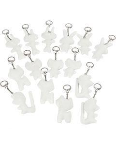Schlüsselanhänger aus Stoff, Größe 6-10 cm, Weiß, 15 Stck./ 1 Pck.