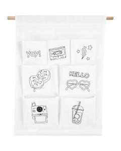 Organizer-Tasche zum Aufhängen, H: 46 cm, B: 34 cm, 145 g, Weiß, 1 Stck.