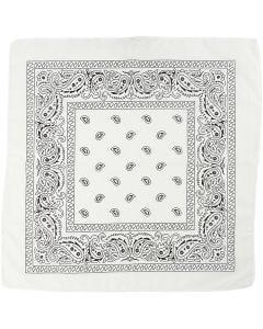 Bedrucktes Bandana-Tuch, Größe 55x55 cm, Weiß, 1 Stck.