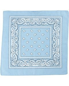 Bedrucktes Bandana-Tuch, Größe 55x55 cm, Hellblau, 1 Stck.