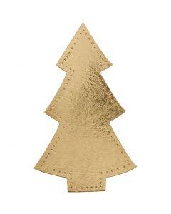 Weihnachtsbaum, H: 18 cm, B: 11 cm, 350 g, Gold, 4 Stck./ 1 Pck.