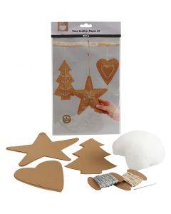 Weihnachts-Bastelset Lederpapier, Stärke: 0,55 mm, Natur, 1 Set