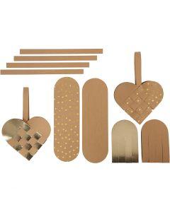 Herzen aus Kunstlederpapier, Stärke: 0,55 mm, Natur, Gold, 1 Set