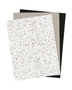Kunstlederpapier, 21x27,5+21x28,5+21x29,5 cm, Stärke: 0,55 mm, Einfarbig,Foliedetails,Bedruckt, 3 Bl./ 1 Pck.