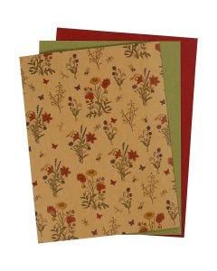 Kunstlederpapier, 21x27,5+21x28,5+21x29,5 cm, Stärke: 0,55 mm, Einfarbig,Bedruckt, Natur, Grün, Rot, 3 Bl./ 1 Pck.
