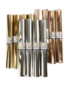 Kunstlederpapier, B: 49 cm, Stärke: 0,55 mm, Einfarbig,Foliedetails, Gold, Rosa gold, Silber, 12x1 m/ 1 Pck.