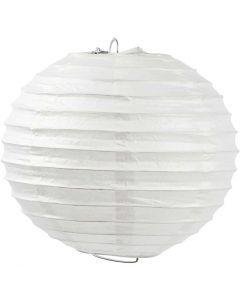 Reispapier-Lampe/-Lampion, Rund, D: 20 cm, Weiß, 1 Stck.