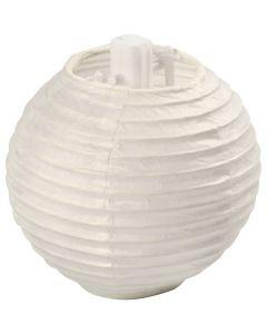Papierlampion, D: 7,5 cm, Weiß, 10 Stck./ 1 Pck.