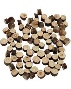 Holzscheiben - Sortiment, D: 7-10 mm, Dicke 4-5 mm, 230 g/ 1 Pck.