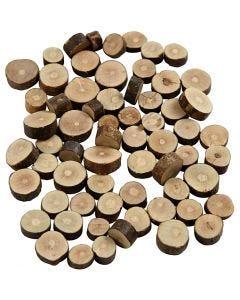 Holzscheiben - Sortiment, D: 10-15 mm, Stärke: 5 mm, 230 g/ 1 Pck.