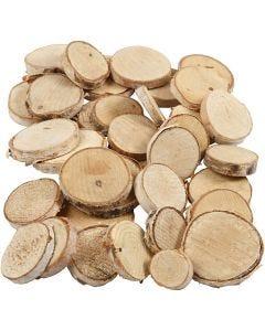 Holzscheiben - Sortiment, D: 25-45 mm, Stärke: 7 mm, 600 g/ 1 Pck.