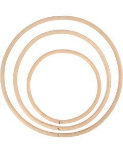 Bambusring, D: 15,3+20,3+25,5 cm, 3 Stck./ 1 Set
