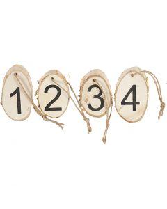 Holzscheiben mit Adventzahlen, 4 Stck./ 1 Pck.