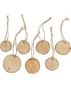 Holzscheiben mit Loch, D: 35-45 mm, Stärke: 7 mm, 7 Stck./ 1 Pck.