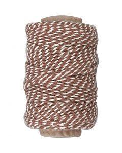 Baumwollkordel, Stärke: 1,1 mm, Braun/Weiß, 50 m/ 1 Rolle