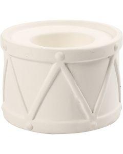 Kerzenständer, H: 6,6 cm, D: 9,3 cm, Lochgröße 2,2+4 cm, Weiß, 2 Stck./ 1 Pck.