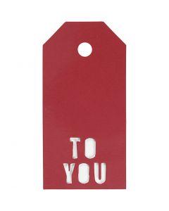 Geschenkanhänger, TO YOU, Größe 5x10 cm, 300 g, Rot, 15 Stck./ 1 Pck.