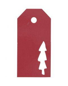 Geschenkanhänger, Weihnachtsbaum, Größe 5x10 cm, 300 g, Rot, 15 Stck./ 1 Pck.